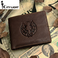 2016 new guarantee retro genuine leather men wallets vintage dragon style head cowhide short man purse carteira