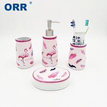 Ceramic Bathroom set Flamingo accessories 4pcs Free shipping toilet brush toothbrush cup soap dish dispenser ORR