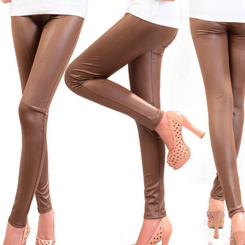 Hot Pants Stitching Imitation Leather Panties Nine Points Pencil Pants High Street  Ankle-Length  Solid Black Khaki Brown Pants