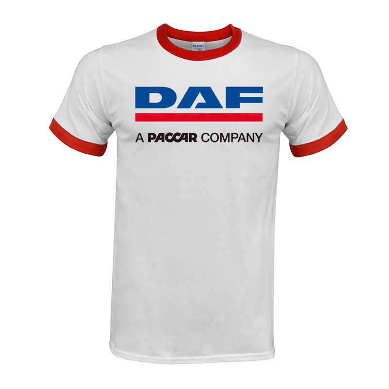 Camiões DAF Homem T-shirt Do Raglan Roupas de Marca Logotipo Da Marca Do Carro Homme Homens Da Camisa de T Roupas de Algodão de Alta Qualidade top tees frete grátis