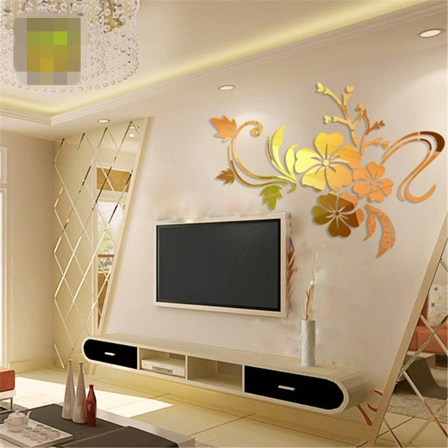 3d diy art plum flower wall mirror stickers self adhesive acrylic