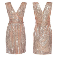 Short Sequin Dresses Rose Gold Deep V Neck Sleeveless Summer Glitter Dress Women Formal Evening Party Dresses Vestido De Festa