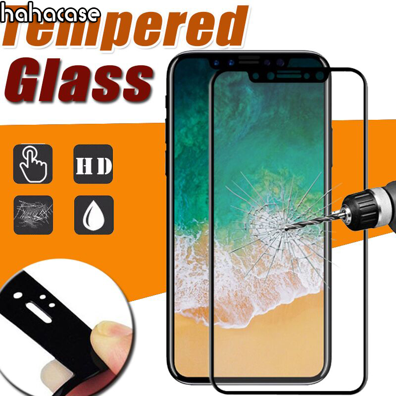 50pcs 9H Full Cover Glossy 3D Curved Carbon Fiber Tempered Glass For iPhone XS Max XR