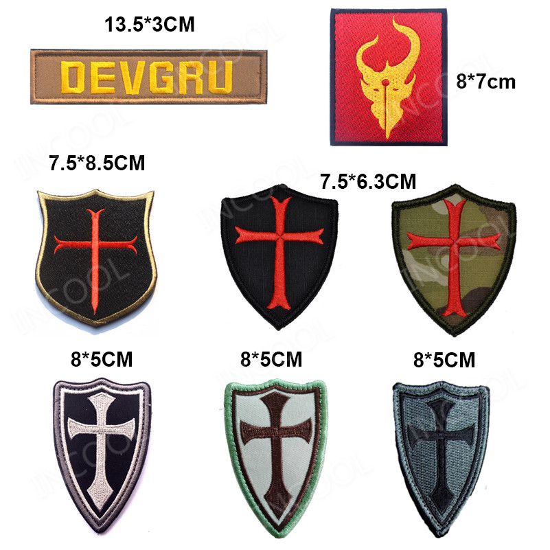 Military Embroidery Patch Army Badge Cross Crusader Shield Navy Seal DEVGRU Tactical Badge Forest Patch 3D Cloth Armband Badge cabeza de toro de colores
