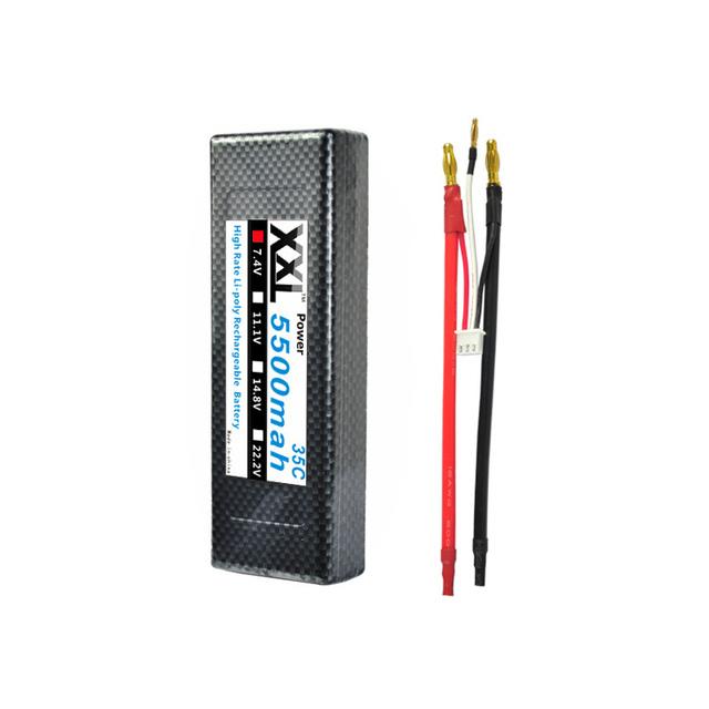 2 unids XXL Duro Caso Plátano Conector de La Batería Lipo 2 s 7.4 V 5500 mAh 35C max 70C para 1/10 Coche de RC AKKU RC10B4 Coches RC10T4 evasor