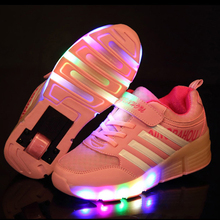New Fashion Children Sneakers With Wheels Kids Light up Shoes Girls Boys Roller Shoes With One