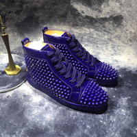 Patent Leather Mes Spikes High Top Sneakers Blue Thick Bottoms Men Causal Shoes Fashion Lovers Luxury Designer Flat Shoes Men 48