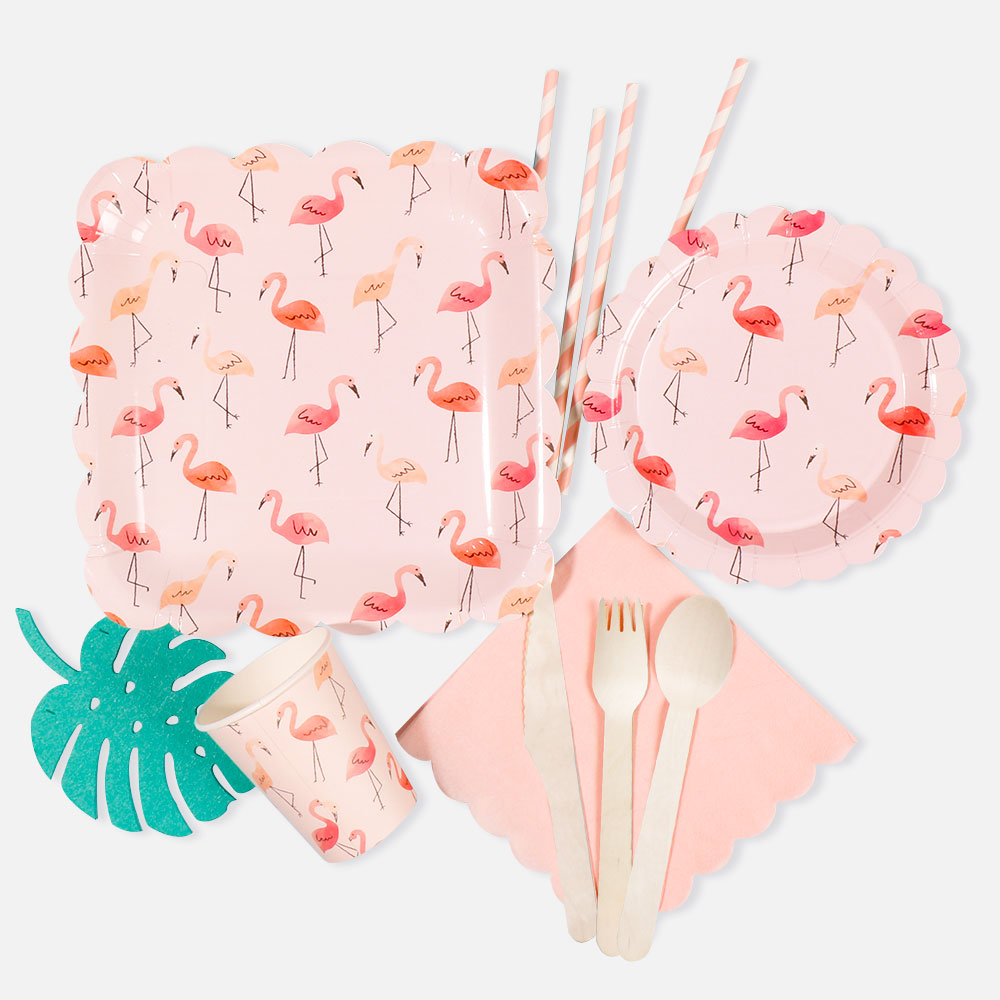 Riscawin 10 pcs Flamingo Birthday Wedding Party Supplies Disposable Paper Plates/Cups/Straws Tableware Baby Shower Favors