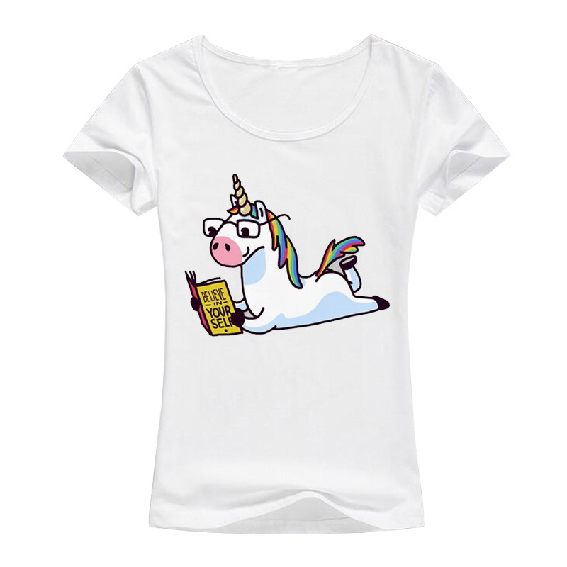 Летнее Радужное Единорог считают себя чтение книги Футболки для Для женщин футболка с рисунком из мультфильма Топ топы, футболки женские