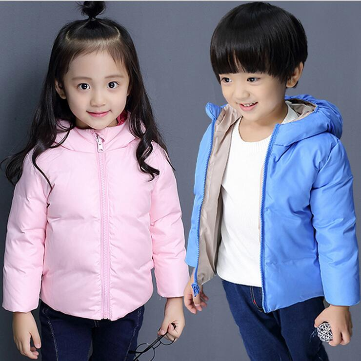 Children in the new boys and girls on both sides to wear hooded jacket down jacket