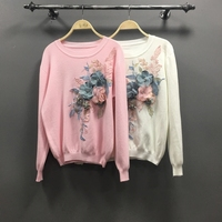 Pullover Sweater Woman 2018 Autumn New Women's Loose Three dimensional Flower Embroidery Sequin Sweaters Pullover Knit Coats