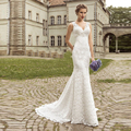 Lace Wedding Dresses V-neck Mermaid Wedding Dress Bridal Gown Beaded  Bride Dress robe de mariage 2016