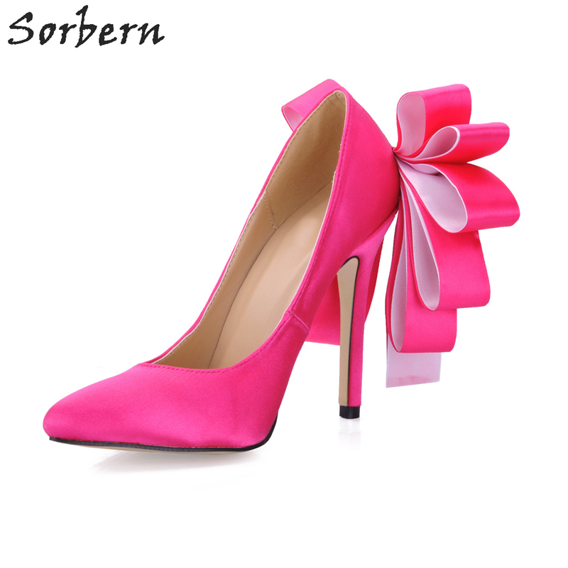 Здесь продается  Sorbern Satin Women Pumps Spring Bridal Wedding Shoes Pointed Toe Cheap Modest 12cm Women Shoes High Heel Bow Show Fashion Pump  Обувь