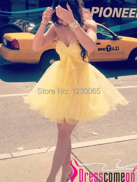 Short Yellow 2018 Ball Gown Sweetheart Neck Mini Organza Party with Crystal Bead Semi Formal Prom Gown   bridesmaid     dresses