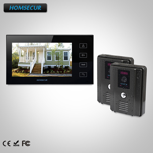 """HOMSECUR 7"""" Wired Hands-free Video&Audio Smart Doorbell with Black Camera TC011-B Camera +TM704-B Monitor"""
