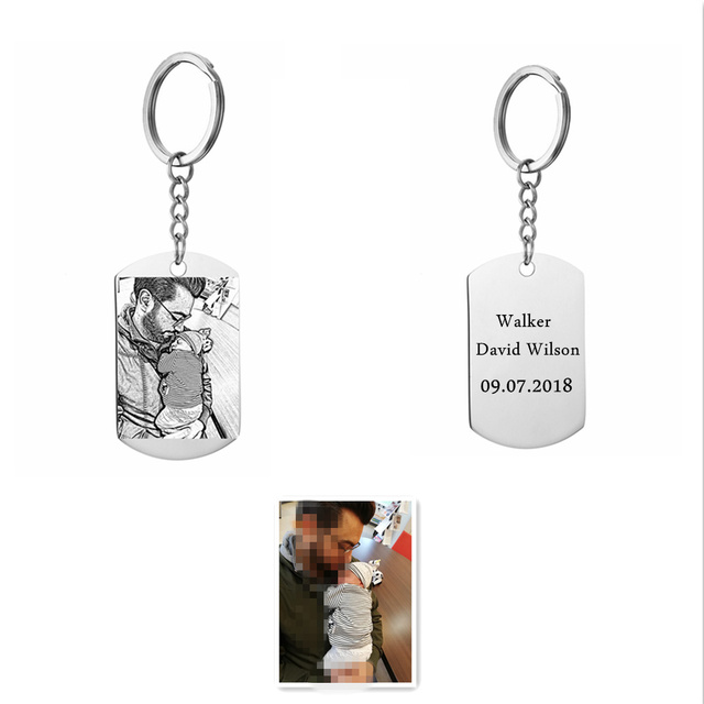 Kişiselleştirilmiş özelleştirilmiş anahtarlık paslanmaz çelik gümüş renk Dag etiketi anahtarlık DIY gravür fotoğraflı anahtarlık hediye