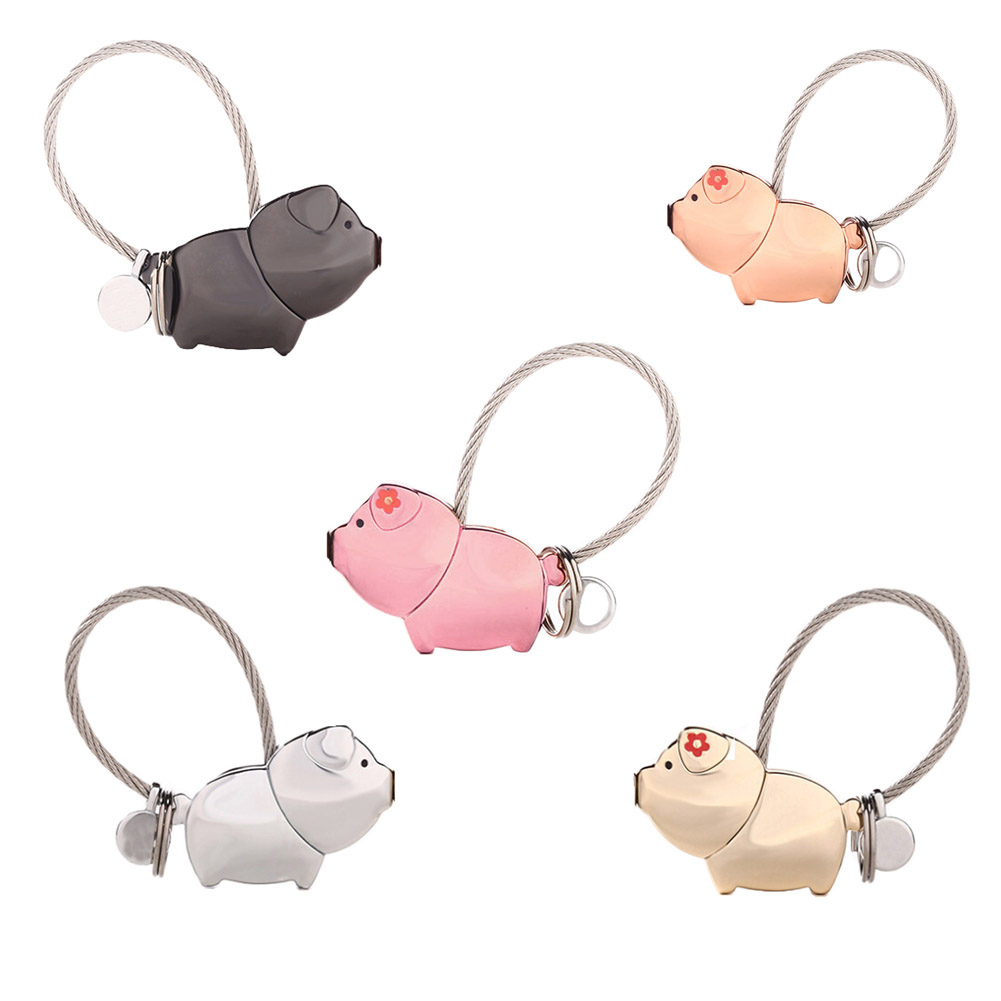 5 Colors ! Cute 3D Kiss Pig Couple Keychain For Lover Christmas Gift Women /Men Key Holder Chain Keyring Present