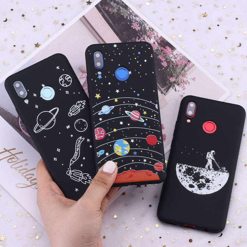 For <font><b>Samsung</b></font> S8 S9 S10 <font><b>S10e</b></font> S20 Plus Note 8 9 10 A7 A8 Space Moon Astronaut Stars Candy Silicone Phone Case Cover <font><b>Capa</b></font> Fundas image