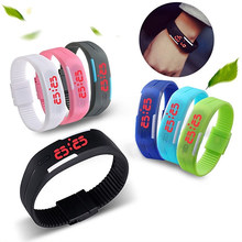 Popular Men's Women's Silicone Red LED Sports Bracelet Touch Watch Digital Wrist Watch Electronic Wrist Watch For Boy Girl Gift(China)