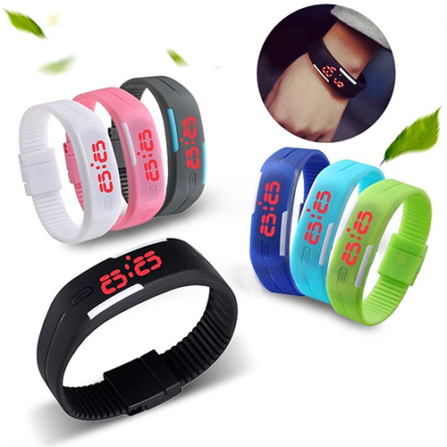 Popular Men's Women's Silicone Red LED Sports Bracelet Touch Watch Digital Wrist Watch Electronic Wrist Watch For Boy Girl Gift