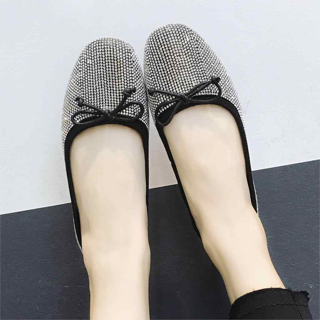 Spring Women Ballet Flats Bling Ladies Shoes Glitter Slip on Shoes Woman  Flats Bow Loafers Sequined a554e0ab6d87