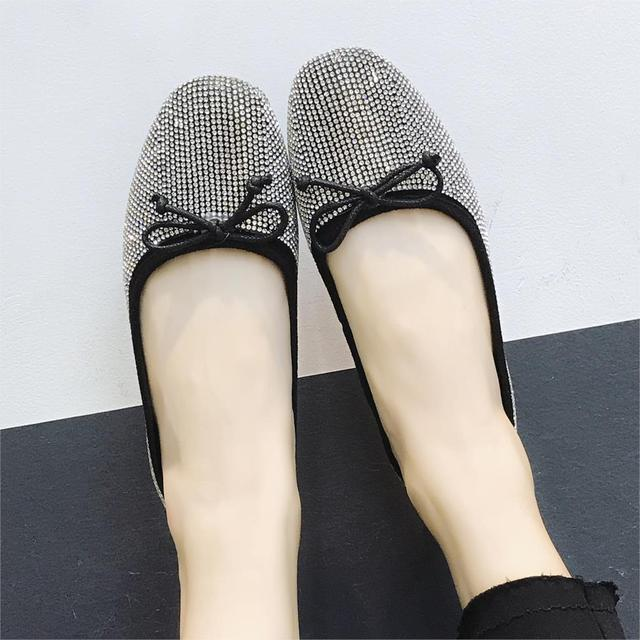 Spring Women Ballet Flats Bling Ladies Shoes Glitter Slip on Shoes Woman  Flats Bow Loafers Sequined Cloth zapatos mujer 6655 0d2603f537a5