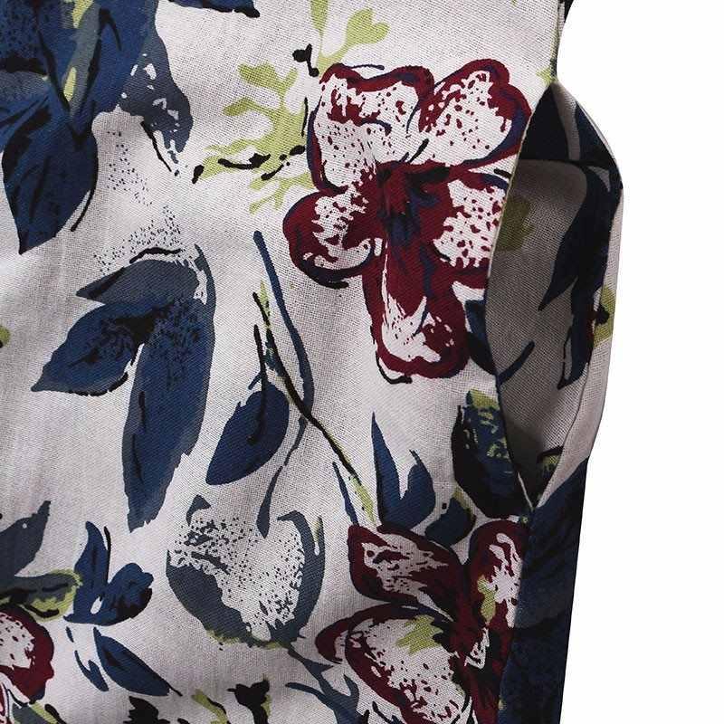 プラスサイズ S-5XL 夏新ルースドレス女性ヴィンテージコットンリネンセクシーなドレスポケット花柄半袖ドレス vestidos