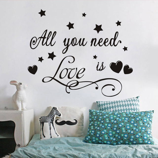 All You Need Is Love Vinyl Romantic Quotes Wall Stickers Diy Home