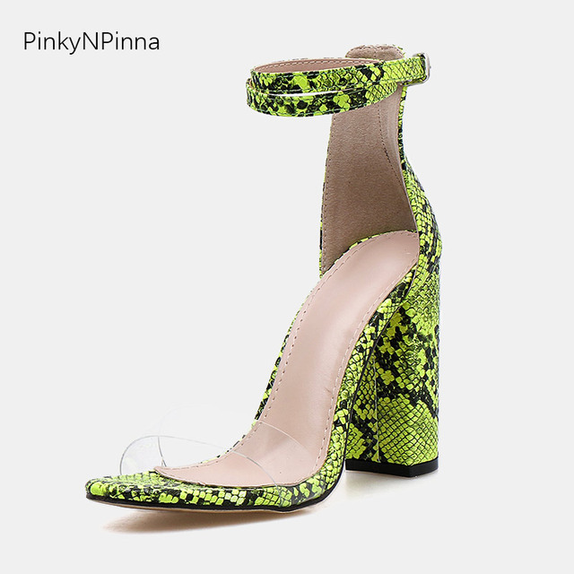 71f10b842d5 US $23.1 45% OFF|women super high heels python snakeskin pattern green  white sandals ankle strap transparent toe strap fashion sexy party shoes-in  ...