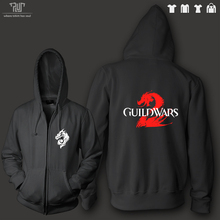 FREE shipping guild wars2 zip-up hoodie men unisex 360g organic cotton fleece heavy hooded sweatshirt high quality comfy warm