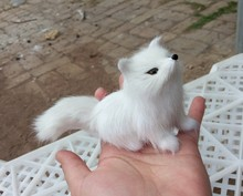 mini simulation fox toy small lifelike white model home decoration gift