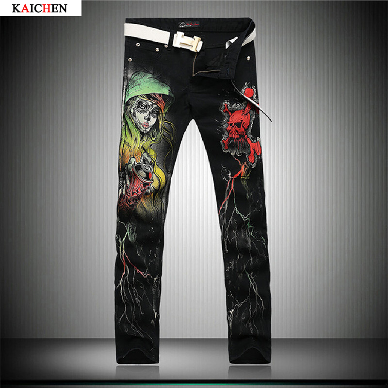 ФОТО Cool Mens Painted Jeans 100% Cotton Clubwear Personality fashion Jeans Men Straight Mens Denim Trousers Mens Printed Jeans 28-38