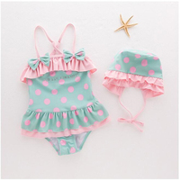New Model Cute Baby Girl Swimwear One Piece With Hat Dot Bow Ruffle Girls Swimsuit Kid