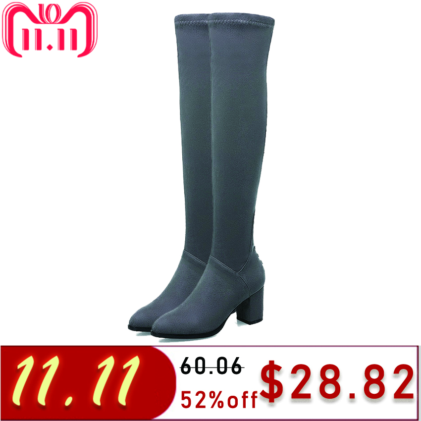 TASSLYNN 2018 Women Boots High Heels Boots Over The Knee Boots Square Heels Flock Lace Up Round Toe Women Shoes Plus Size 34-43