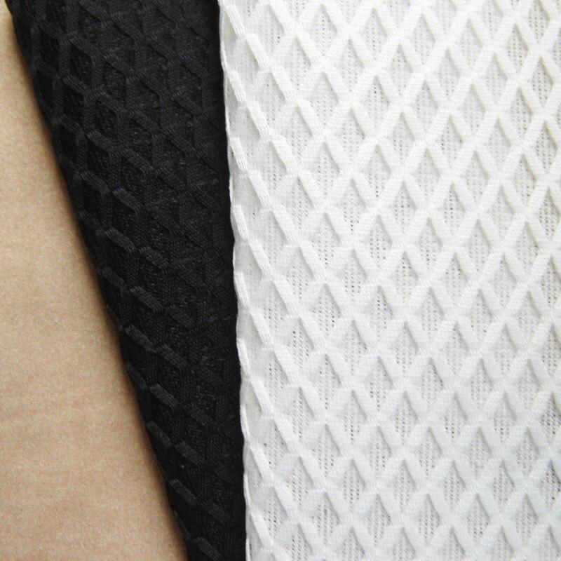 1 Yard New French Designer Black Mesh Cloth Fashion Show Rhombus White Net Lattice Fabrics For Patchwork Apparel Sewing Tissu