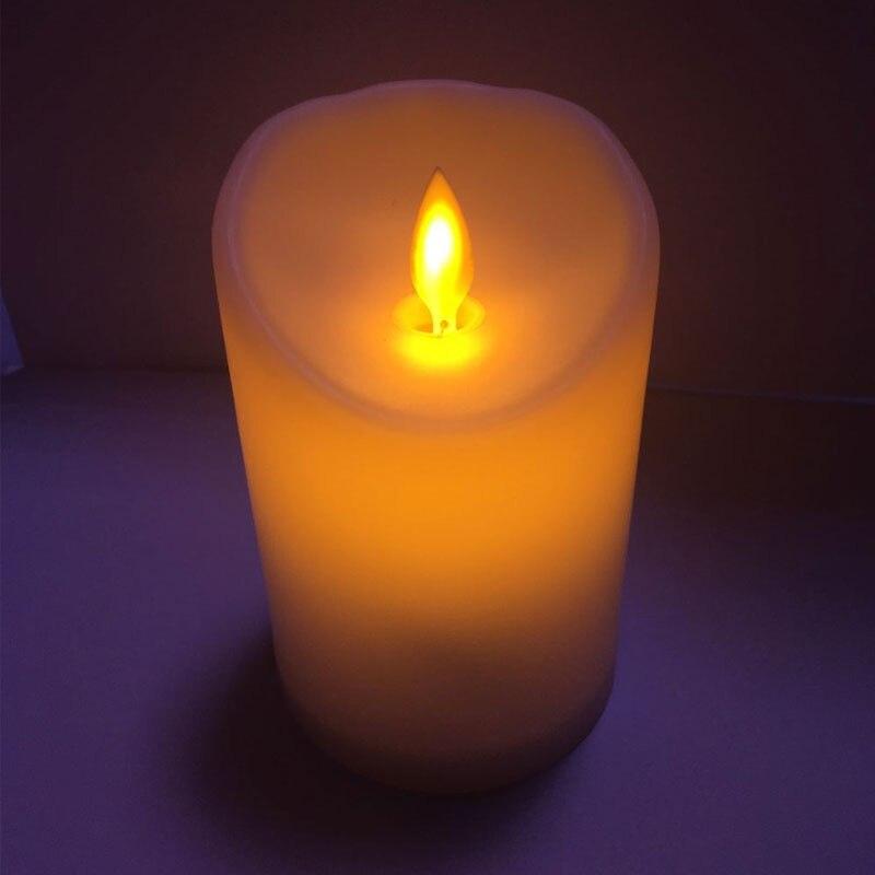 Réaliste En Plastique sans flamme bougies, Jaune swing électrique bougie décoratifs, Led Bougie Lumière batterie opearted faux bougies