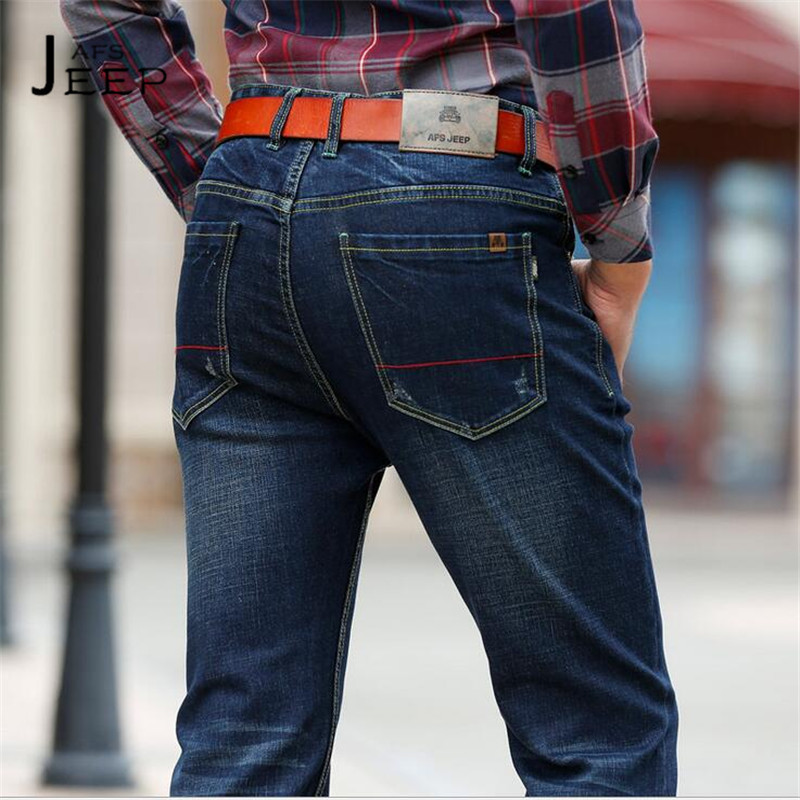 AFS JEEP Fashion Design Man's Mid Waist Slim Jeans,Good Quality Water Washed Social Man Elasticity Denim Trousers Brand Denim winter warm high quality outdoor men shoes comfortable casual shoes men fashion genuine leather high top flats for men xxz5