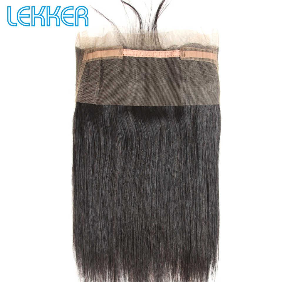 Lekker бразильские прямые 3 4 пучки волос с 360 кружевными фронтальными закрытиями для черных женщин фронтальные и пучки могут быть сделаны парики