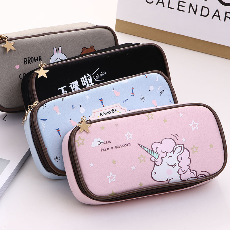 Unicorn Pencil Case Zipper Canvas Pencil Bag Inner Pocket Pen Case Large Capacity Pens Holder Korea Stationary School Supplies