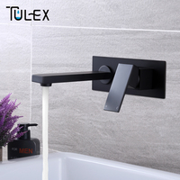 TULEX Bathroom Basin Mixer Chrome Crane Black Brass Wall Mounted Basin Faucet Single Handle Mixer Tap