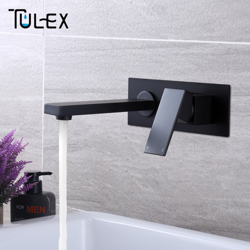 TULEX Bathroom Basin Mixer Chrome Crane Black Brass Wall Mounted Basin Faucet Single Handle Mixer Tap Hot And Cold Water xoxo modern bathroom products chrome finished hot and cold water basin faucet mixer single handle water tap 83007