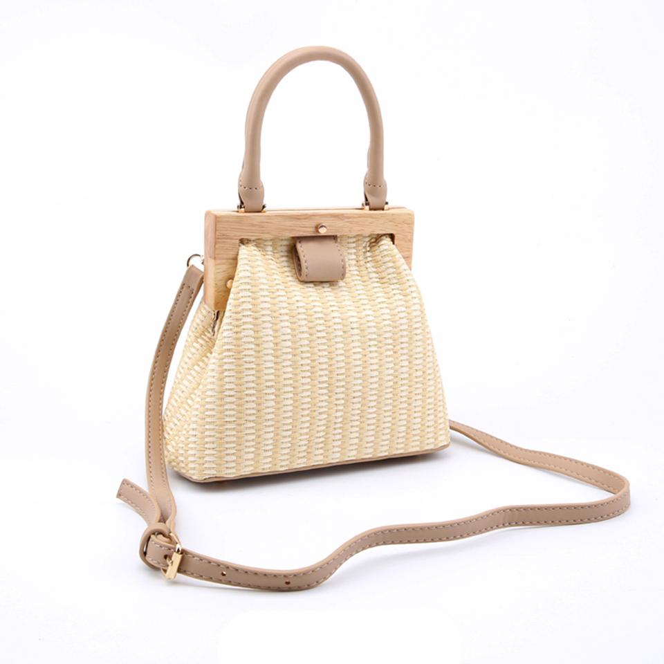 Oswego Straw Bag 2019 New Fashion Wooden Clip Women Shoulder Bag Summer Travel Beach Bag Luxury Handbags Women Bags Designer 5