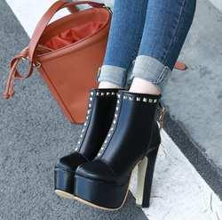 Осенне-зимние Новые Модные Ботинки martin на толстой подошве с молнией сзади и круглым носком на очень высоком каблуке