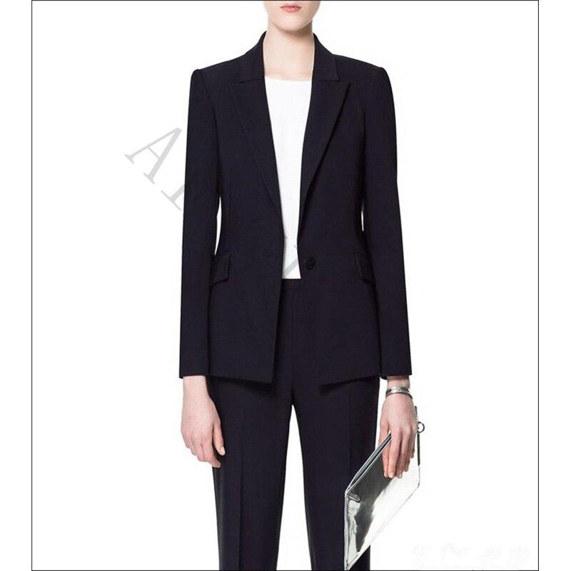 100% QualitäT Jacke + Hosen Frauen Anzüge Schwarz Weibliche Büro Einheitlichen Formalen Arbeitskleidung Damen Hosenanzug Abschlussball-partei 2 Stück Set