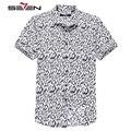 Seven7 Marca Homens Magros Camisas de Manga Curta Camisas Casual Chinês Pintura Gráfico All Over Print Moda Moda Camisas 704A3654