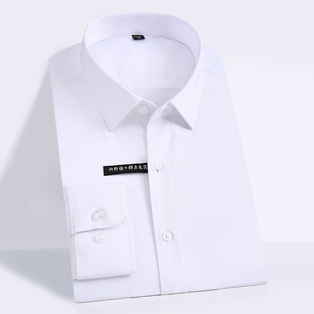 男性の簡単ケア固体竹繊維ドレスシャツ快適なソフト長袖弾性非鉄男性正規フィットフォーマルトップスシャツ