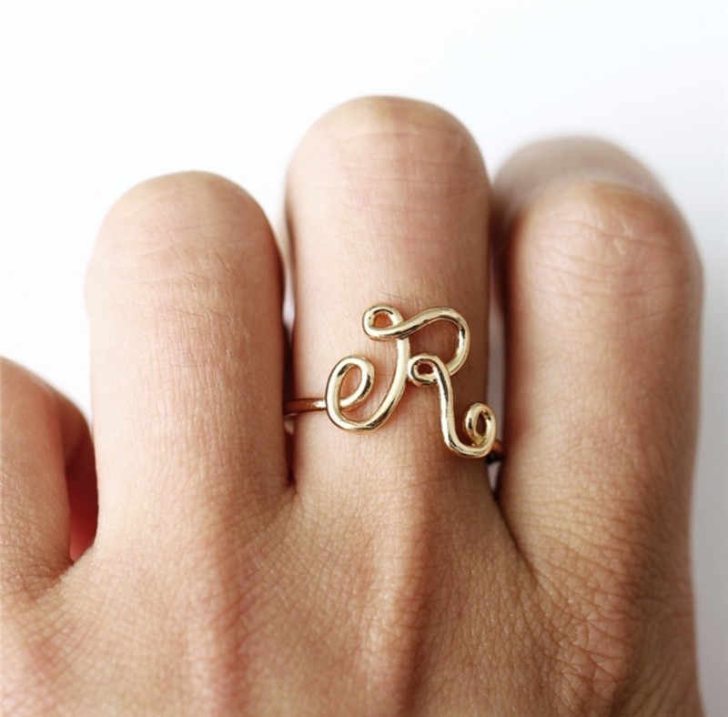 Unisex Adjustable Wave Initial Ring Wedding Rings For Women Simple Gold Silver A-Z Letter Ring Female Party Charm Jewelry Gifts