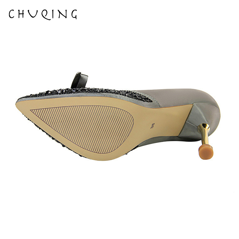 CHUQING Корейская Мода Металл Высокий Каблук Женская Обувь Sexy Bow Женская Обувь