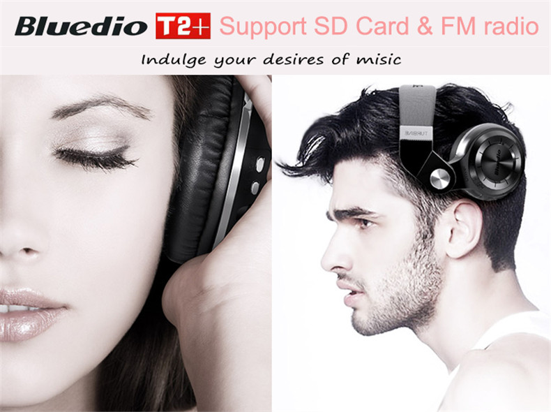 Bluedio T2+ fashionable foldable over the ear bluetooth headphones BT 4.1 support FM radio& SD card functions Music calls (1)
