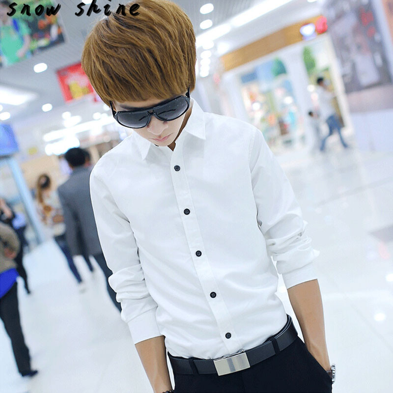 snowshine YLI 1PC Fashion Luxury Long Sleeve Mens Casual Slim Fit Stylish Shirts free shipping
